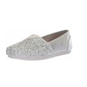 NEW womens Bobs silver glitter flat slip on shoes
